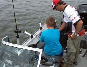 John Csizmadia and his youth co-angler Braden Lucas fishing a youth walleye tournament. Photo Credit: Joe Centofanti